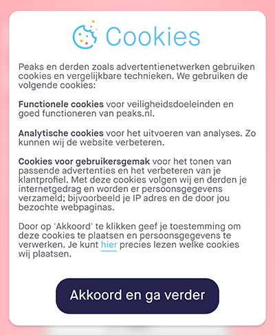Cookiemelding peaks pop-up