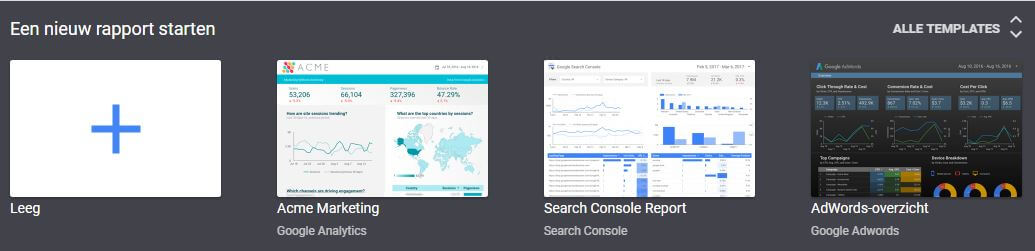 Template keuze Google Data Studio