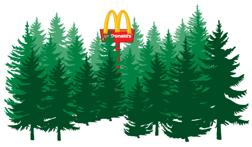 Mac Donalds restaurant in het bos