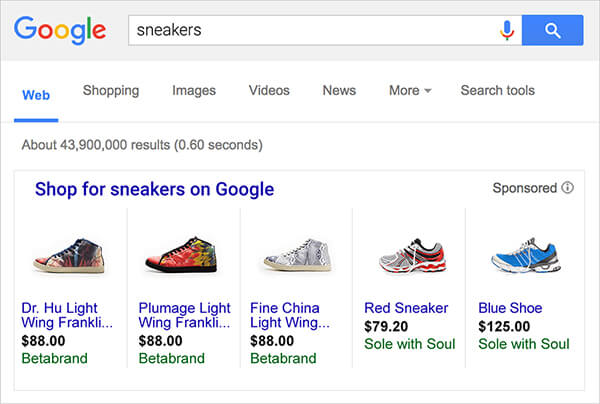 Sneakers in Google Shopping