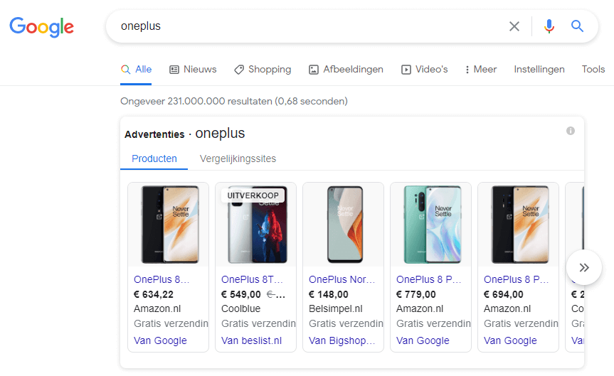 zoekmachine adverteren google shopping ads